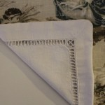 Vintage napkin update by adding linen toile to other side.