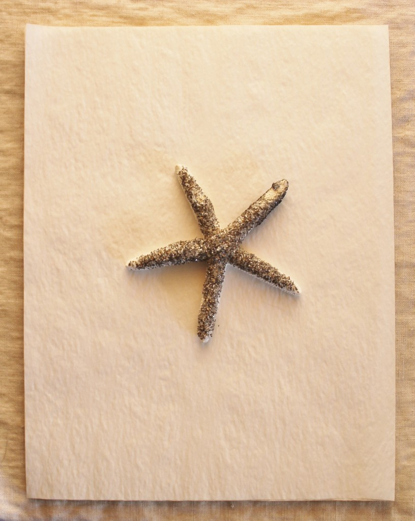 Old onion skin typewriter paper with a german glass glitter starfish for a paper weight.