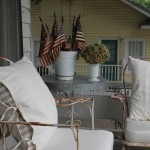 Rusty and the refined.  Linen pillows, custom cushion make these some very comfortable vintage rocking chairs.