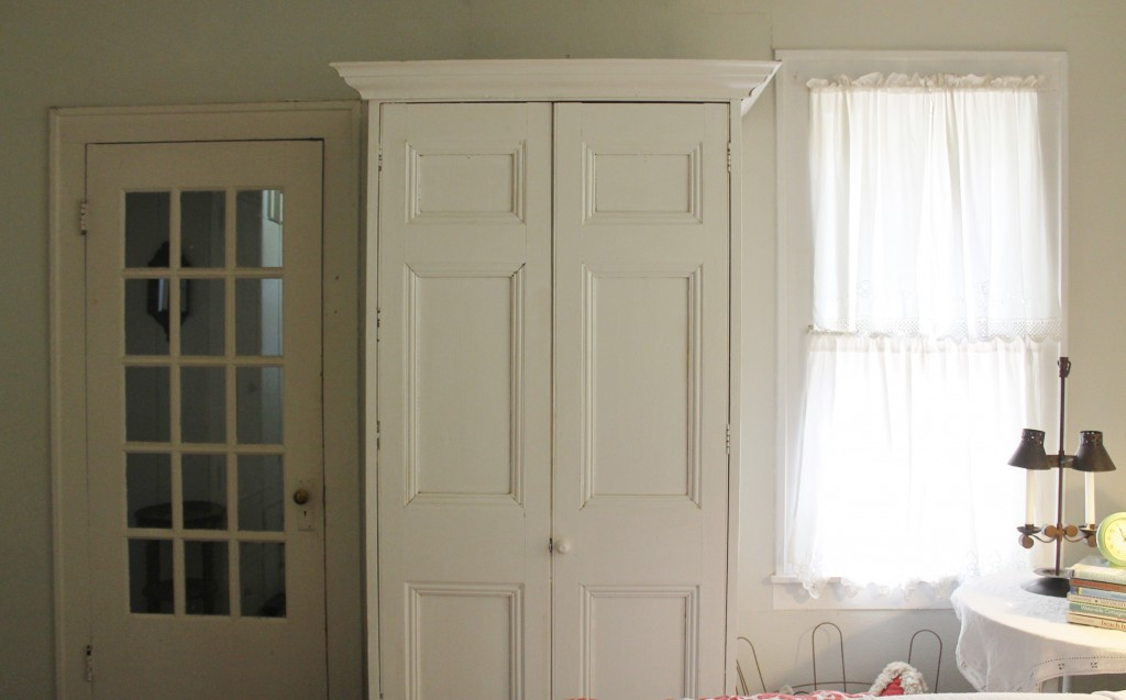 This lovely white, weathered armoire doubles as my closet.