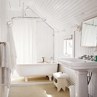 This bathroom probably best emulates the size, shape and space of my bathroom...down to the pitch in the roof.