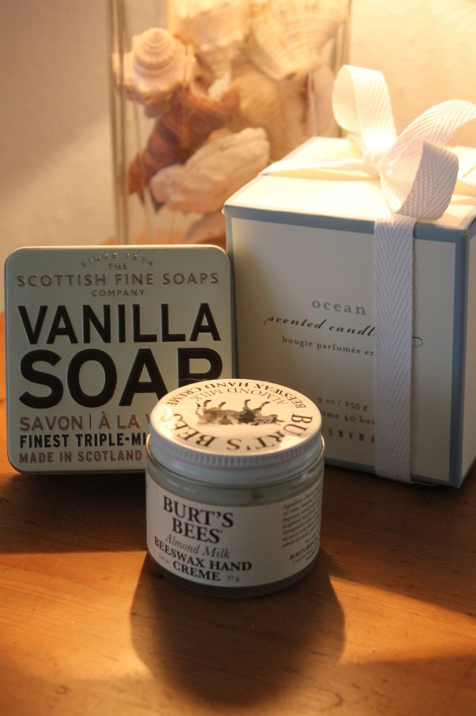 Imported Soap, Burt's Bees Balm and a lovely Ocean scented candle for pampered guests.