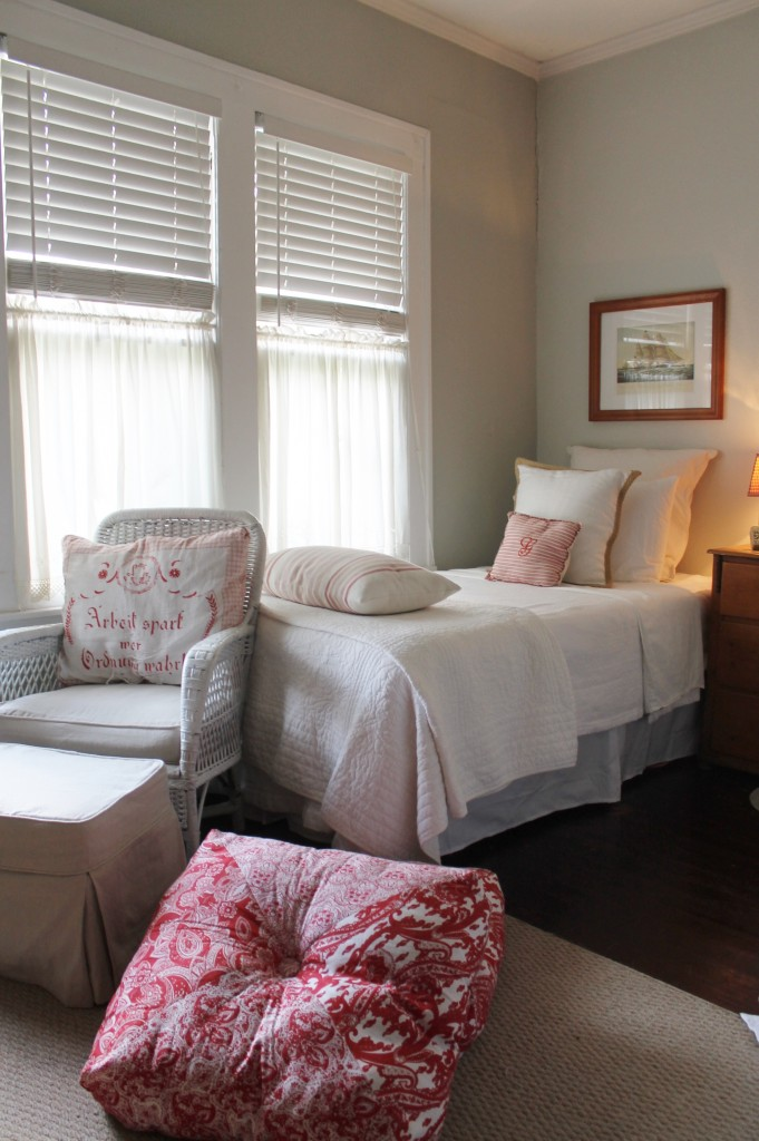 The room formerly had a single queen bed.  Now using two twin beds with white cotton sheets and a light, summer quilt for when the ceiling fan makes the room a little chilled, this room has a simple and quiet countenance.