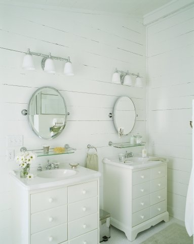 It's doubtful I will have room for double vanities...but I love this look.