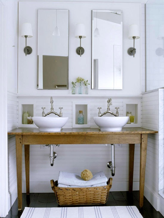 Love the antique pine table with the crisp white bowl sinks.