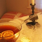 A simple holiday punch as a sweet accompaniment to home made toll house cookies.