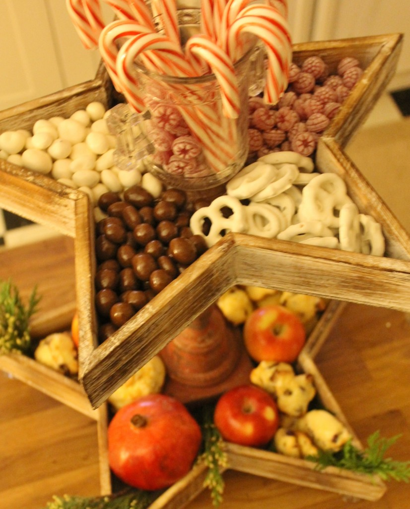 Sweets are a natural choice to fill the Christmas Star Tiered tray.