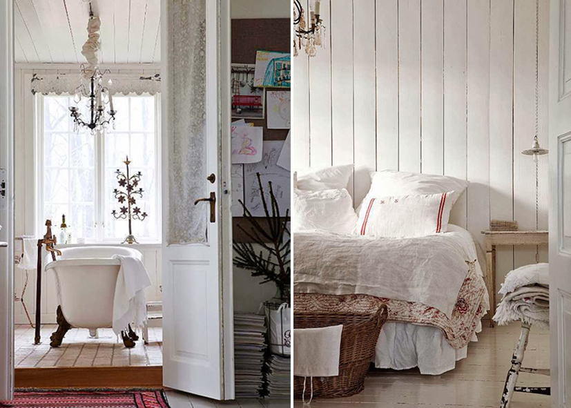 Old textiles in the bedroom and cottage white bathroom - Nordic style.