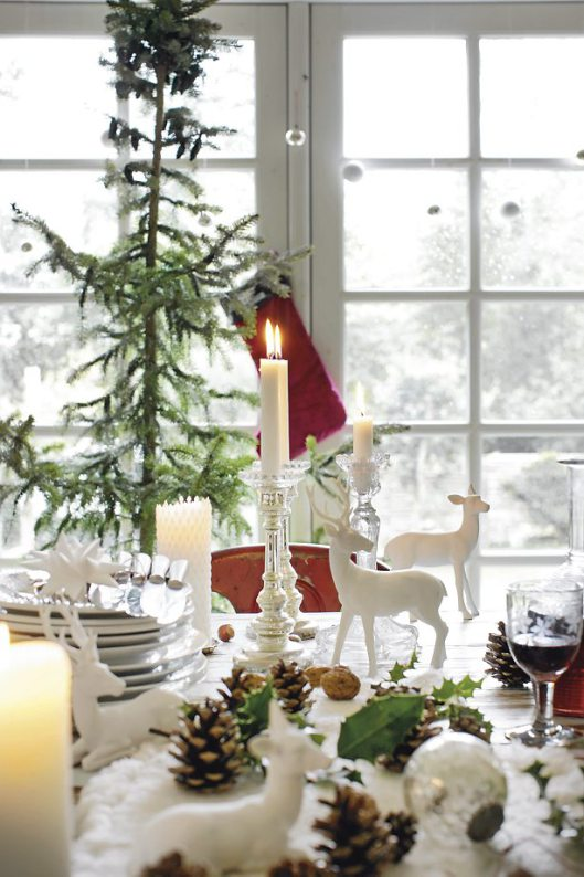A Wintery view from the Christmas Scandinavian table.