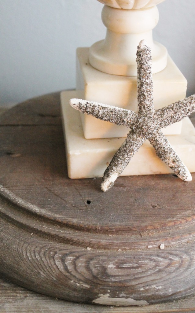 An old column base, alabaster lamp and a German glass glitter starfish