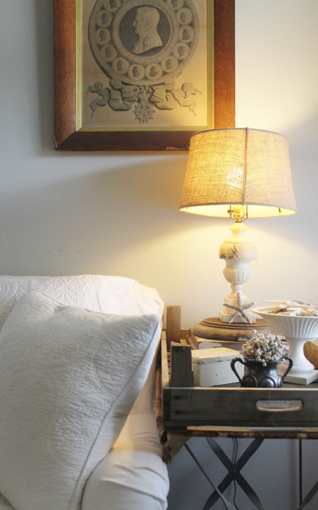 I just love vintage alabaster lamps because they easily fit the neutral palette and are still very reasonable priced online and in antique stores.