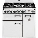 Antique white finish, two ovens and five burners.