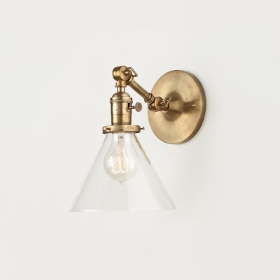 Clear shade with antique brass fixture.