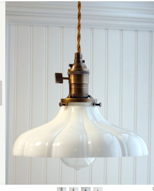 Simple pendant lamps for the kitchen.  Exposed twisted cord, antique brass finish and a beautiful Sheffield milk glass shade.  Just lovely.