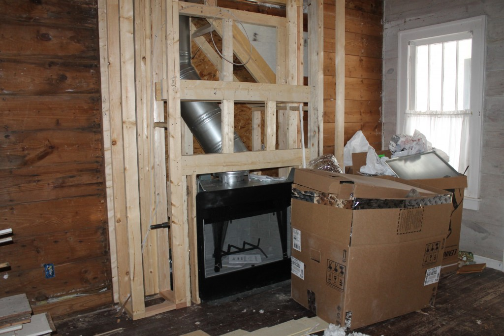 Zero clearance fire place set up and framed in.