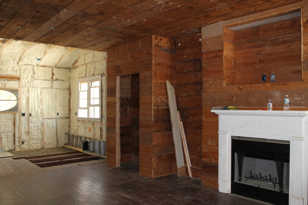 Pantry and Fireplace clad in old ships lap.