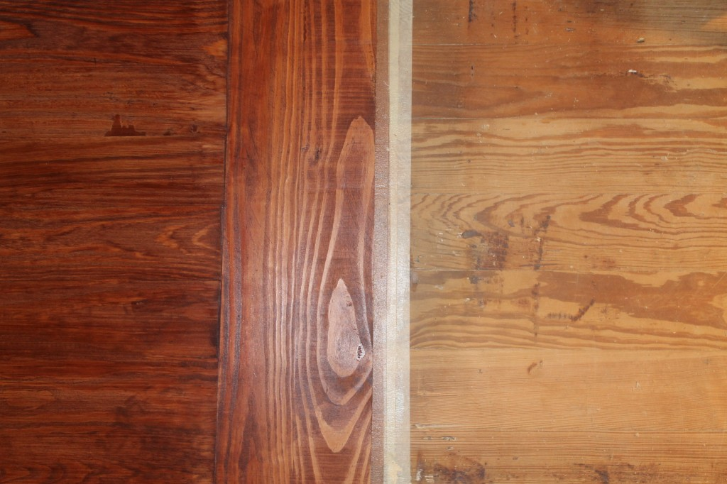 Stained new wood (left) against sanded old wood on the right.