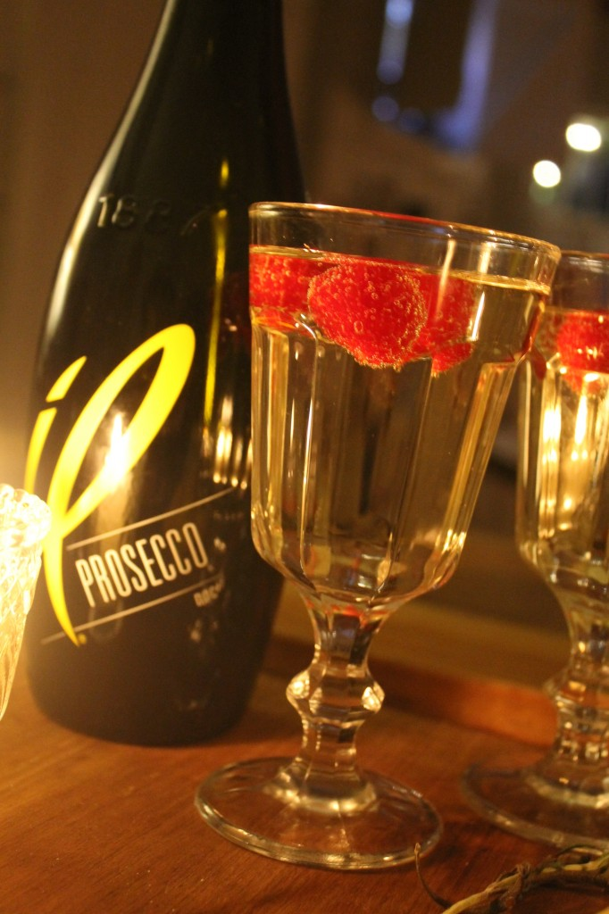 Prosecco in non traditional goblets that are less formal than champagne flutes.