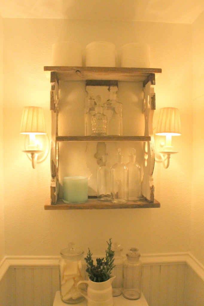 After. New shades, an old shelf and my collection of antique apothecary jars.
