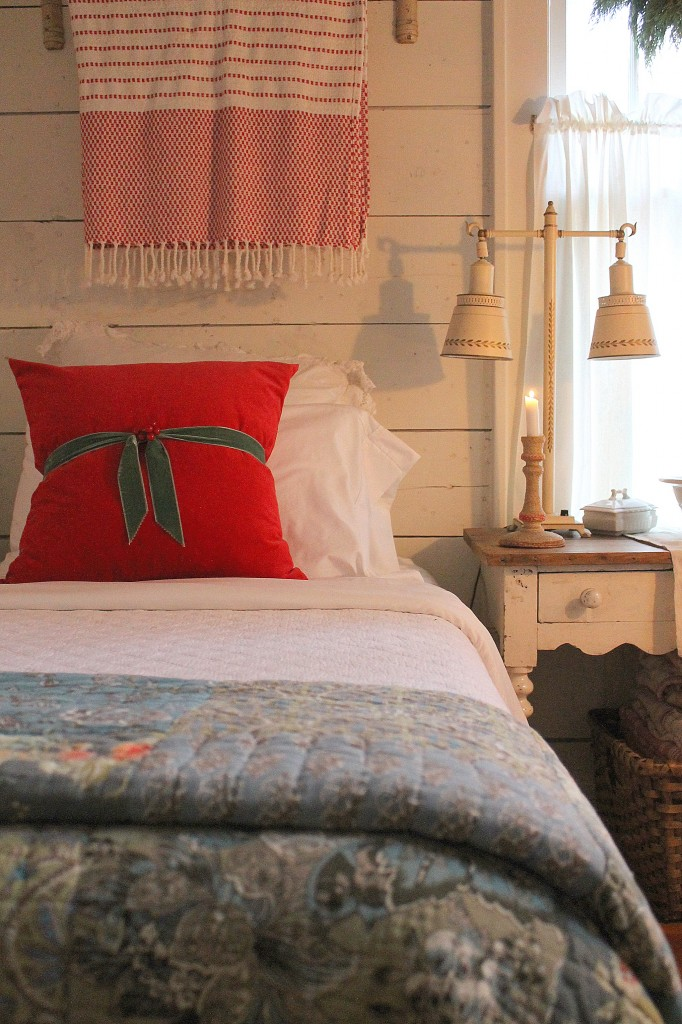 A guest room with some holiday cheer.