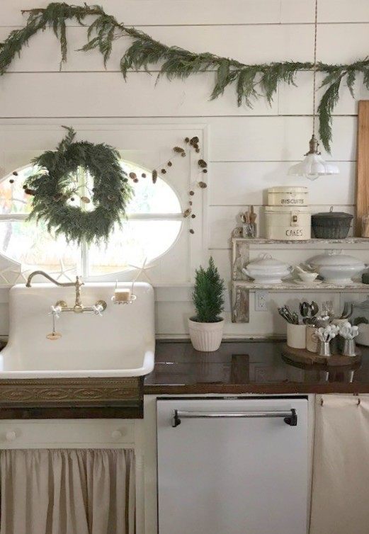 A Christmas Farmhouse Kitchen.