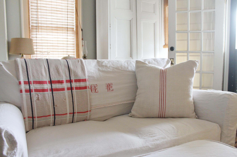Vintage French Monogram Linen Sofa Slipcover